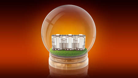 Transparent sphere ball with modern partment house inside. 3D rendering.