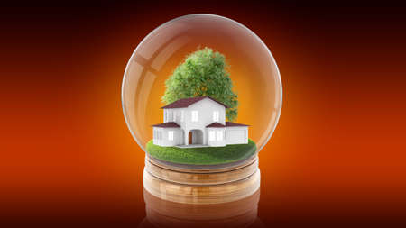 Transparent sphere ball with modern white house inside. 3D rendering.