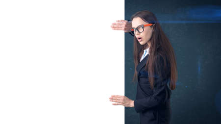 one sheet: Surprised Business woman portrait with blank white board on gray isolated . Female model with long hair in glasses. Stock Photo