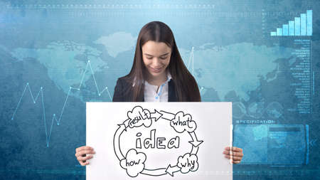 Creative ideas concept, beautiful businesswoman standing on studio painted background near idea organizational chart.