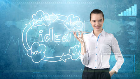 Creative ideas concept, beauty businesswoman holding invisible tray on painted background near idea organizational chart