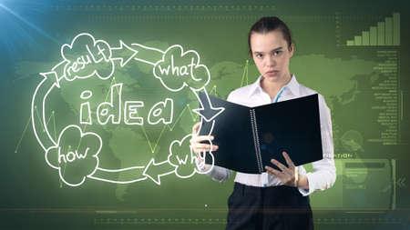 Creative ideas concept, beautiful businesswoman holding report on painted background near idea organizational chart.
