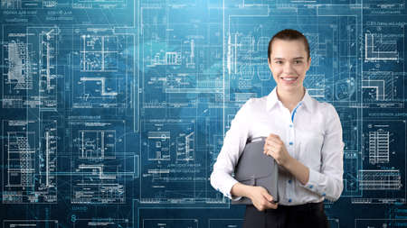 Businesswoman Architect Engineer Construction Design and Business Concept Stock Photo