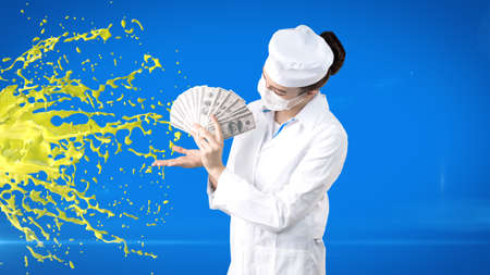 dispensary: Beautiful medical woman doctor in uniform. Studio painted background. Concept of profitable health care.