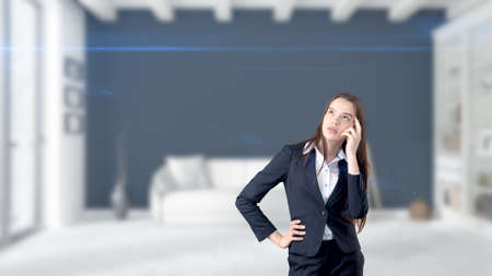group  accountant: Young Business woman over interior background Stock Photo