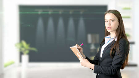 Young Business woman over interior background 版權商用圖片