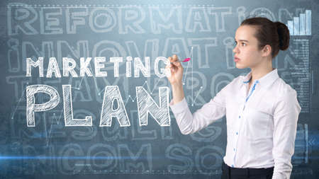 Beauty businesswoman on painted background with marketing words. Advertising, investment and business plan concept