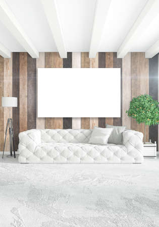 bedside: White Bedroom Minimal modern or loft style Interior Design with wood wall and copyspace into an empty frame. 3D Rendering. 3D illustration