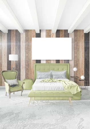 Weißes Schlafzimmer Minimal Modernes Oder Loft Stil Interior Design Mit  Holzwand Und Copyspace In Einen