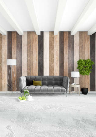 White bedroom minimal style Interior design with wood wall. 3D Rendering. 3D  illustration Stock