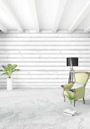 #84859032   Weißes Schlafzimmer Minimal Modern Oder Loft Stil Interior  Design. 3D Rendering 3D Abbildung