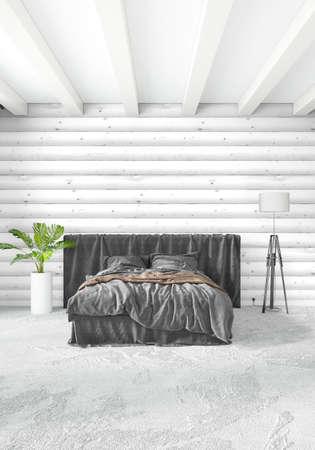 Weißes Schlafzimmer Minimal Modern Oder Loft Stil Interior Design. 3D Rendering  3D Abbildung Photo