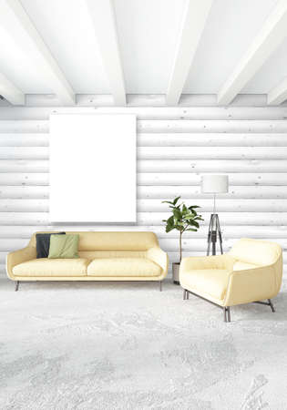 Illustration   Minimal Bedroom Interior Design Wood Wall, Yellow Sofa And  Copyspace Into An Empty Frame. 3D Rendering. 3D Illustration