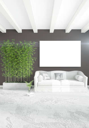 Vertical modern interior bedroom or living room with eclectic wall and empty frame for copyspace drawing. 3D rendering Stock Photo
