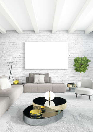 drawing room: Vertical modern interior bedroom or living room with eclectic wall and empty frame for copyspace drawing. 3D rendering Stock Photo