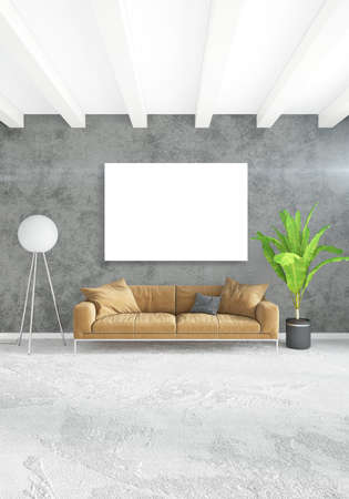 living room window: Vertical modern interior bedroom or living room with eclectic wall and empty frame for copyspace drawing. 3D rendering Stock Photo