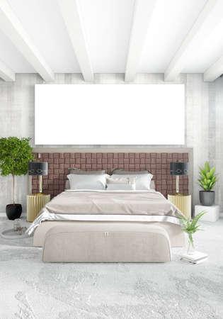 stockfoto verticale moderne binnenlandse slaapkamer of woonkamer met eclectische muur en leeg kader voor copyspace tekening 3d rendering