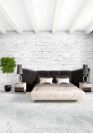 living room window: Modern loft interior bedroom or living room with eclectic wall with space. 3D rendering.