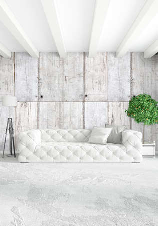 eclectic: Modern loft interior bedroom or living room with eclectic wall with space. 3D rendering.