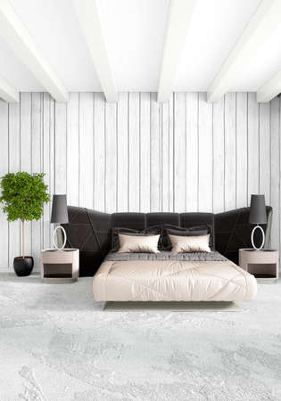 bedside: Modern loft interior bedroom or living room with eclectic wall with space. 3D rendering.