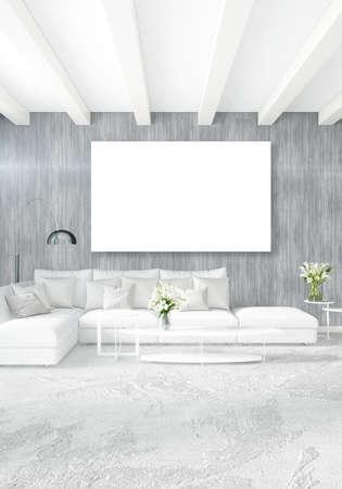 85278373 verticale moderne binnenlandse slaapkamer of woonkamer met eclectische muur en leeg kader voor copyspace tekening 3d rendering