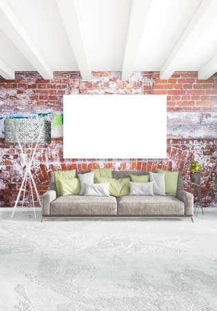 contemporary living room: Vertical Bedroom Minimal or Loft style Interior Design. 3D Rendering. Concept idea.