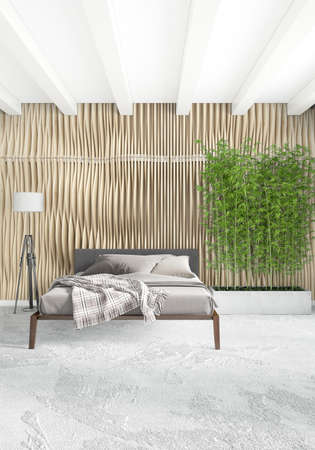 Vertical Bedroom Minimal or Loft style Interior Design. 3D Rendering.  Concept idea. photo