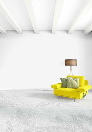 Chambre verticale intérieur ou intérieur de style loft de conception . concept d & # 39 ; inspire 3d Banque d'images - 85477203