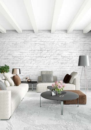Verticaal Slaapkamer Minimal of Loft-stijl interieur. 3D-weergave. Concept idee. Stockfoto