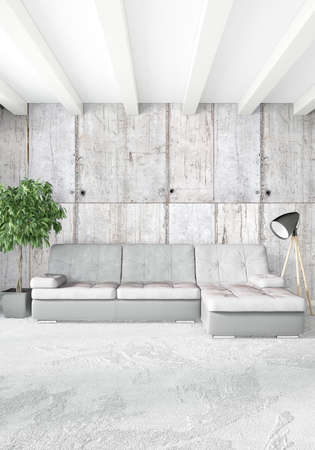 drawing room: Vertical white Bedroom Minimal style Interior Design. 3D Rendering.