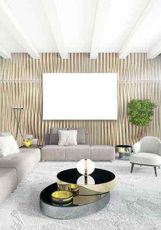 Vertical white Bedroom Minimal style Interior Design. 3D Rendering. photo