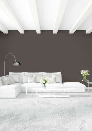 luxurious: White bedroom minimal style Interior design with wood wall and grey sofa. 3D Rendering. 3D illustration