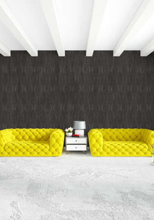 contemporary living room: White Bedroom Minimal modern or loft style Interior Design. 3D Rendering. 3D Illustration