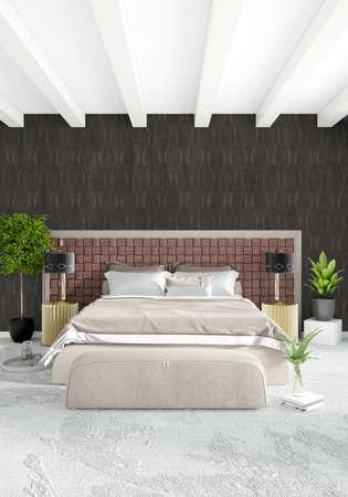 old photo: White Bedroom Minimal modern or loft style Interior Design. 3D Rendering. 3D Illustration