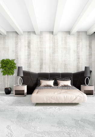 bedroom design: White bedroom minimal style Interior design with wood wall and grey sofa. 3D Rendering. 3D illustration