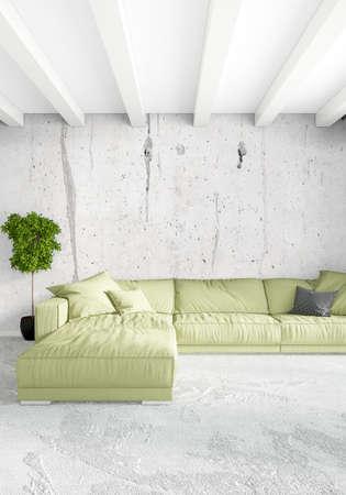 White Bedroom Minimal modern or loft style Interior Design. 3D Rendering. 3D Illustration