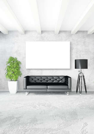 window view: White bedroom minimal style Interior design with wood wall and grey sofa. 3D Rendering. 3D illustration