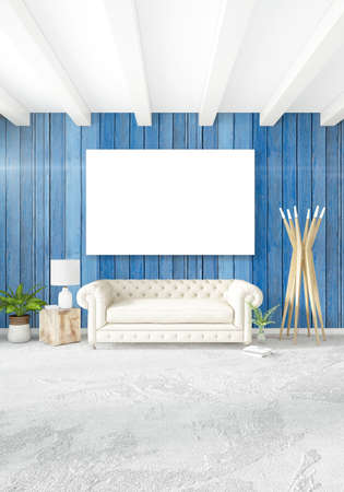Stock Photo   White Bedroom Minimal Style Interior Design With Wood Wall  And Grey Sofa. 3D Rendering.