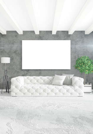White bedroom minimal style Interior loft design with wood wall and grey sofa. 3D Rendering.