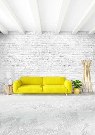 Dormitorio blanco o sala de estar diseño de interiores de estilo minimalista con pared y sofá con estilo. Representación 3D. Conept de show room Foto de archivo - 87098816