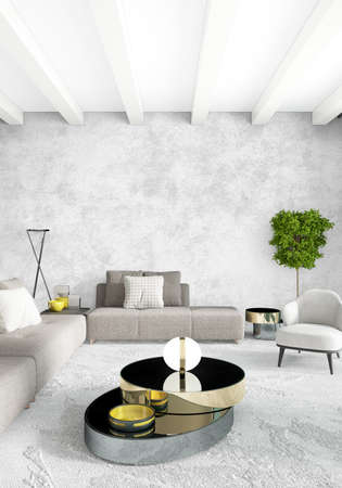 living room sofa: White bedroom or livingroom minimal style interior design with stylish wall and sofa. 3D Rendering. Conept of show room