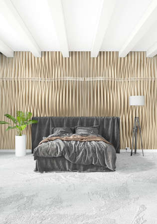 residential homes: White bedroom or livingroom minimal style interior design with stylish wall and sofa. 3D Rendering. Conept of show room