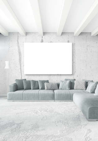 residence: Loft bedroom in modern style interior design with eclectic wall and stylish sofa. 3D Rendering.