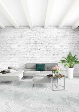 living room sofa: Loft bedroom in modern style interior design with eclectic wall and stylish sofa. 3D Rendering.