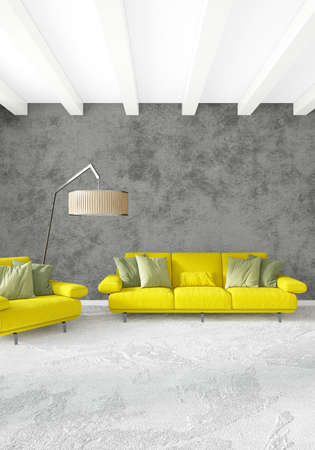 Yellow bedroom or livingroom in modern style Interior design with exuding wall and stylish furniture. 3D Rendering.