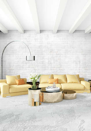 residential: Yellow bedroom or livingroom in modern style Interior design with exuding wall and stylish furniture. 3D Rendering.