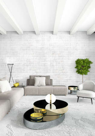 living room: Loft bedroom in modern style interior design with eclectic wall and stylish sofa. 3D Rendering.