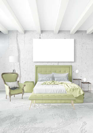 residential: Loft bedroom in modern style interior design with eclectic wall and stylish sofa. 3D Rendering.
