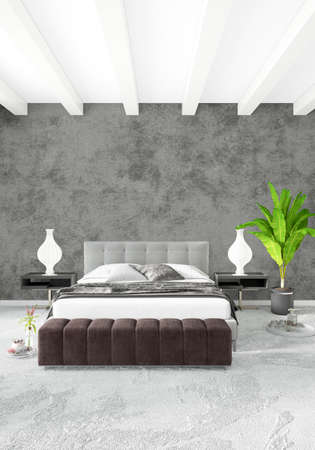interior design: Loft bedroom in modern style interior design with eclectic wall and stylish sofa. 3D Rendering.