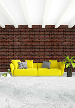 residential: Yellow loft bedroom or livingroom in modern style Interior design with exuding wall and stylish furniture. 3D Rendering.